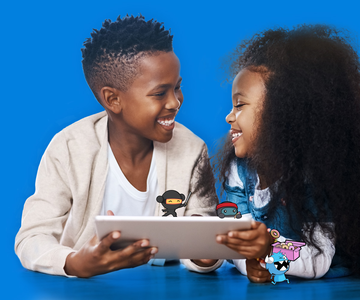 girl and boy holding ipad